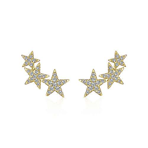 14k Yellow Gold Stellare Stud Earrings angle 1