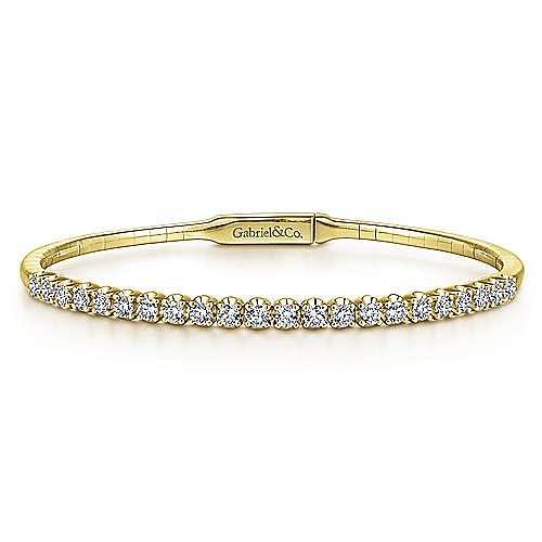 Gabriel - 14k Yellow Gold Straight Round Diamond Bangle Bracelet