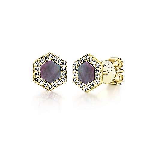 14k Yellow Gold Stud Black Mother Of Pearl Earrings Eg13340y45bm