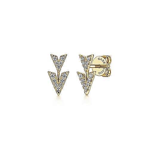 Gabriel - 14k Yellow Gold Stud V-Shaped Earrings