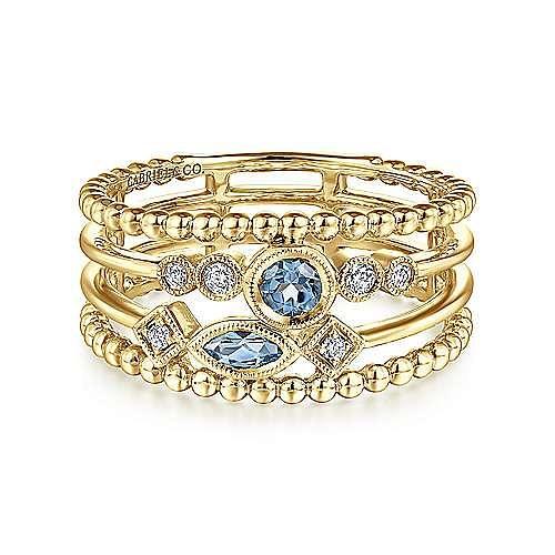 Gabriel - 14k Yellow Gold Swiss Blue Topaz & Diamond Ladies' Fashion Ring