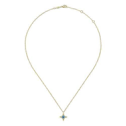 14k Yellow Gold Swiss Blue Topaz & Diamond Starburst Necklace