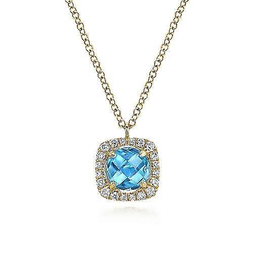 Gabriel - 14k Yellow Gold Swiss Blue Topaz Diamond Fashion Necklace