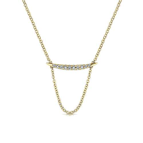14k Yellow Gold Tapered Diamond Bar Necklace