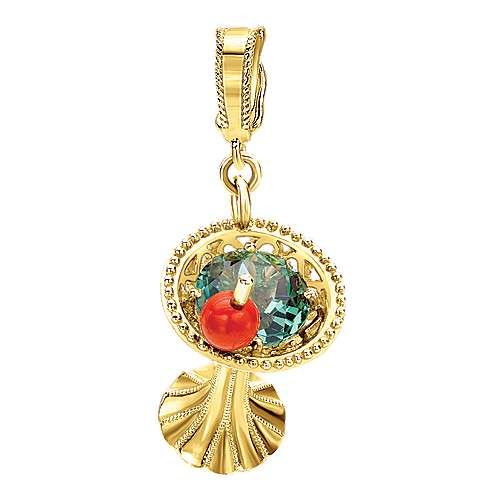 14k Yellow Gold Treasure Chests Charm Pendant angle 1
