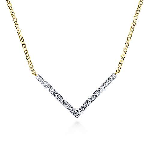 14k Yellow Gold Trends Bar Necklace