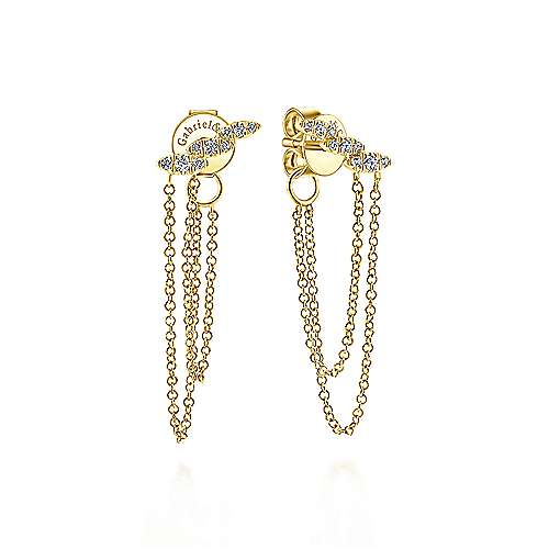14k Yellow Gold Trends Drop Earrings angle 1