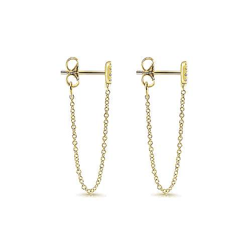 14k Yellow Gold Trends Drop Earrings angle 3