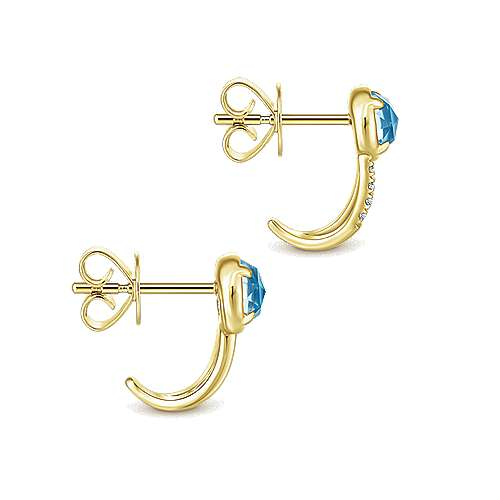 14k Yellow Gold Trends J Curve Earrings angle 3