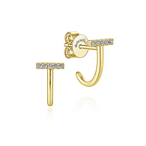 14k Yellow Gold Trends J Curve Earrings angle 1