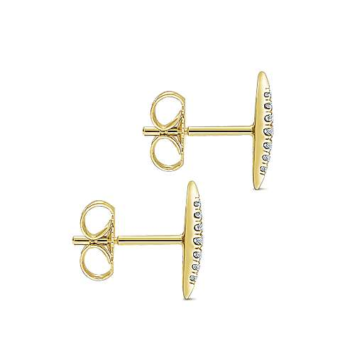 14k Yellow Gold Trends Stud Earrings angle 3