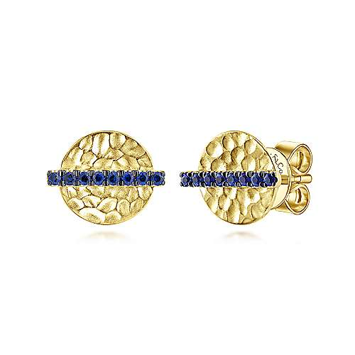 14k Yellow Gold Trends Stud Earrings angle 1