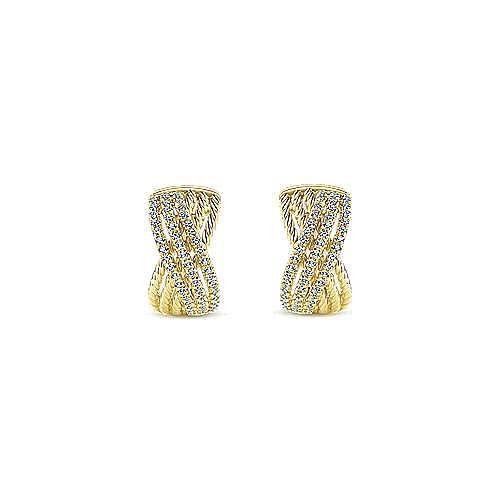 14k Yellow Gold Twisted Criss Cross Diamond Huggie Earrings