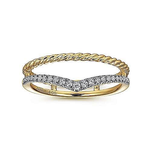 14k Yellow Gold Twisted Diamond Fashion Ring