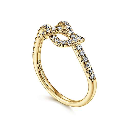 14k Yellow Gold Twisted Diamond Knot Eternity Ring
