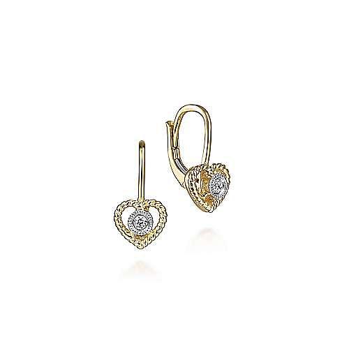 14k Yellow Gold Twisted Heart Diamond Drop Earrings