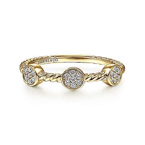 Gabriel - 14k Yellow Gold Twisted Pave Diamond Cluster Stackable Ring