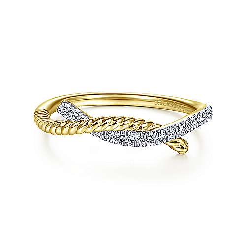 14k Yellow Gold Twisted Pave Diamond Entwined Fashion Ring