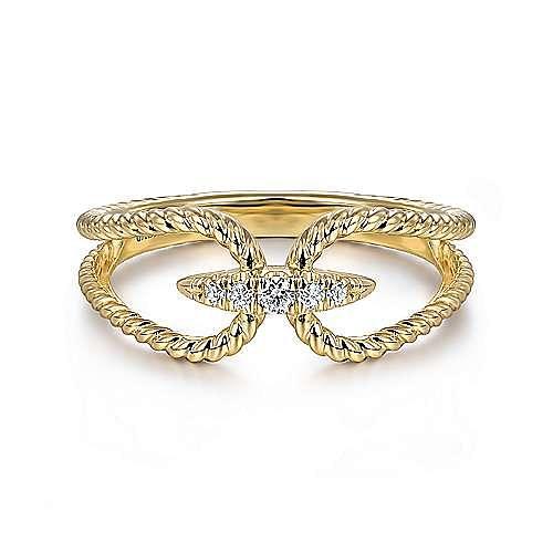 Gabriel - 14k Yellow Gold Twisted Split Shank Pave Diamond Fashion Ring