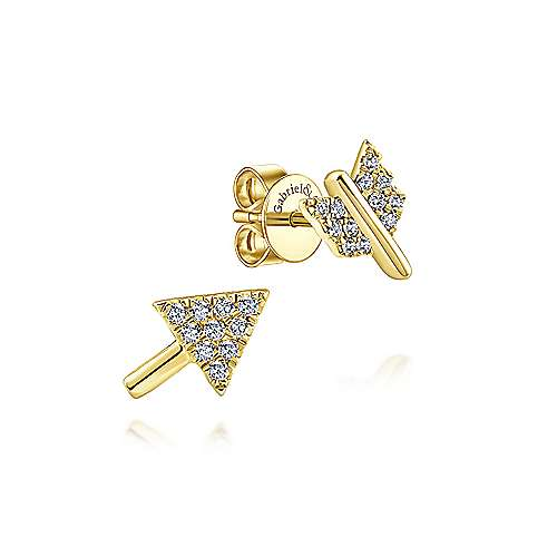 14k Yellow Gold Two Piece Arrow Diamond Stud Earrings