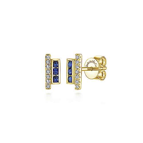 14k Yellow Gold Vertical Bar Diamond & Sapphire Stud Earrings