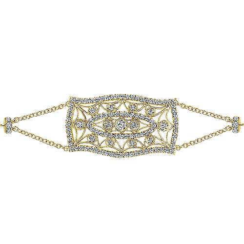 14k Yellow Gold Victorian Chain Bracelet angle 2
