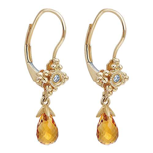 14k Yellow Gold Victorian Drop Earrings angle 2