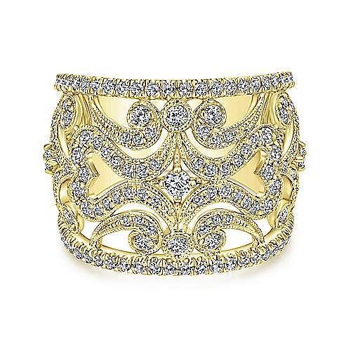 14k Yellow Gold Victorian Fashion Ladies' Ring angle 1