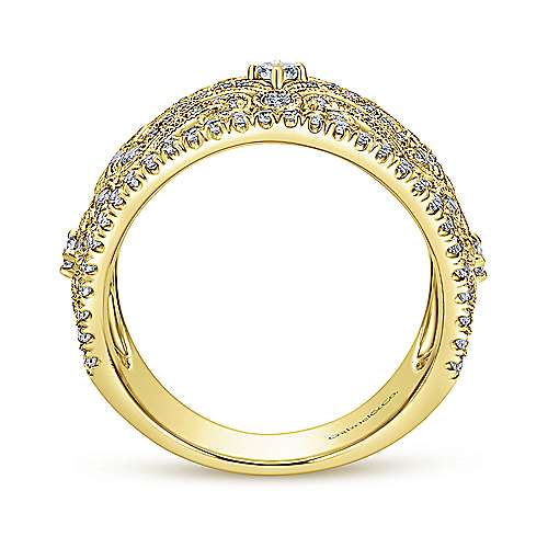 14k Yellow Gold Victorian Fashion Ladies' Ring angle 2