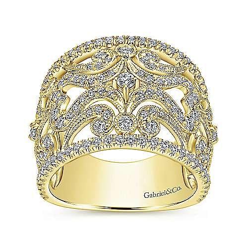 14k Yellow Gold Victorian Fashion Ladies' Ring angle 4