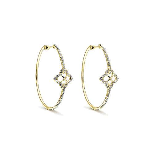 14k Yellow Gold Victorian Intricate Hoop Earrings