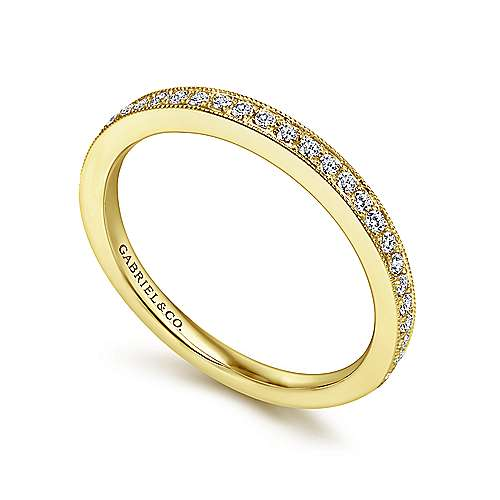 14k Yellow Gold Victorian Straight Wedding Band angle 3