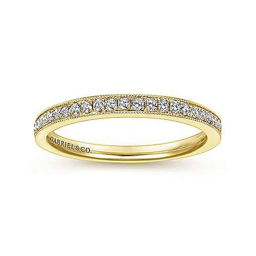 14k Yellow Gold Victorian Straight Wedding Band angle 5