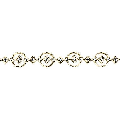 14k Yellow Gold Victorian Tennis Bracelet angle 2