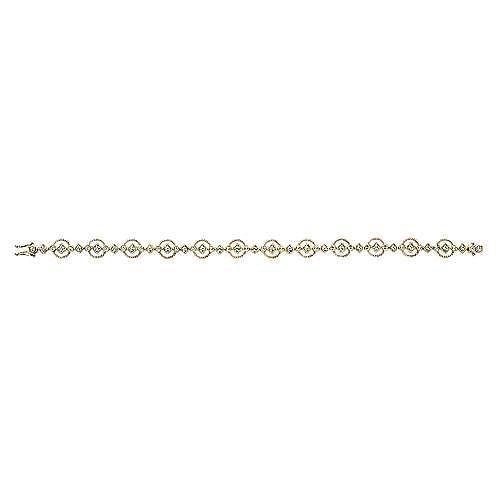 14k Yellow Gold Victorian Tennis Bracelet angle 3