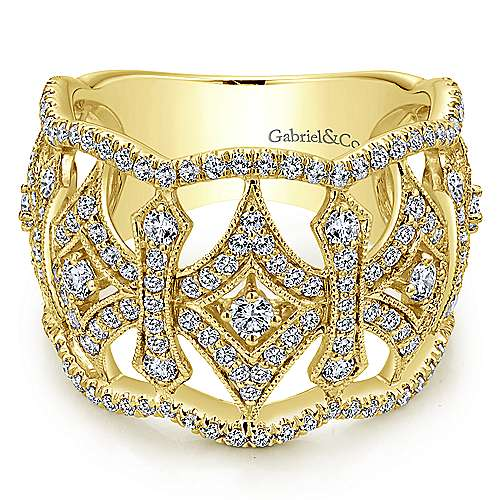 14k Yellow Gold Victorian Wide Band Ladies' Ring angle 1