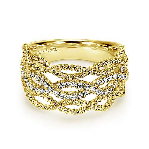 Gabriel - 14k Yellow Gold Wide Band Ladies Ring