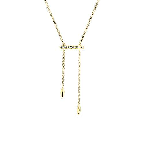 Gabriel - 14k Yellow Gold Y Knot Pave Diamond Bar Necklace
