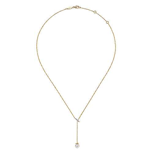 14k Yellow Gold Y Knots Cultured Pearl & Diamond Necklace