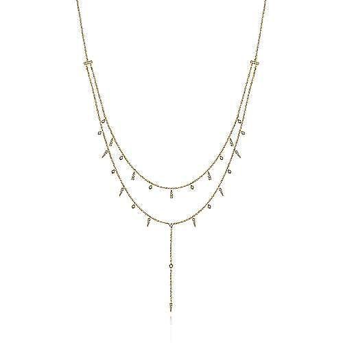 Gabriel - 14k Yellow Gold Y Knots Necklace