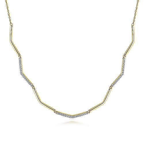 Gabriel - 14k Yellow Gold Zig Zag Diamond Choker Necklace