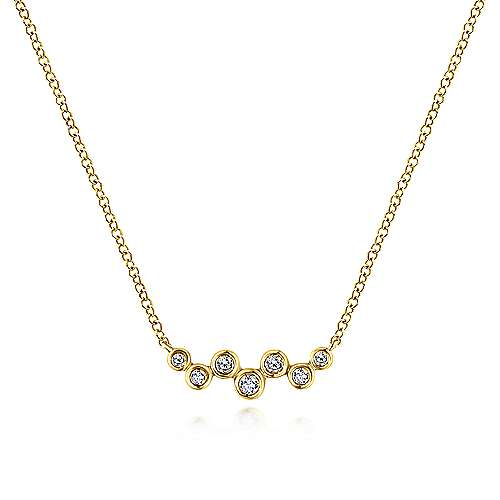 14k Yellow Gold Zig Zag Round Diamond Bar Necklace