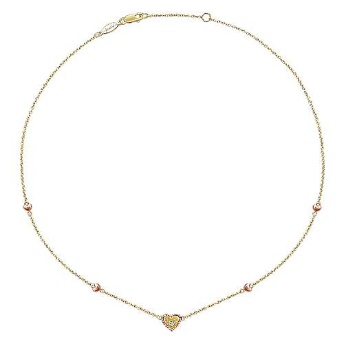 14k Yellow/Rose Gold Diamond Heart Station Necklace