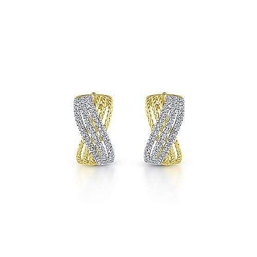 14k Yellow/White Gold 15mm Twisted Criss Cross Diamond Huggie Earrings