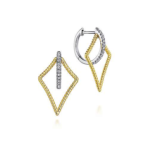 14k Yellow/White Gold 25mm Twisted Kite Diamond Huggie Earrings