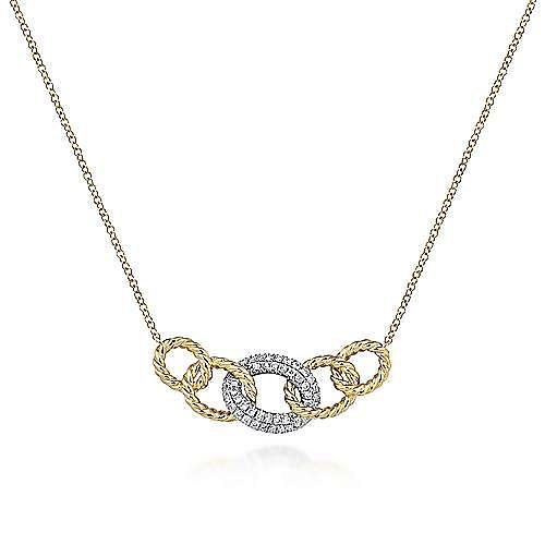 14k Yellow/White Gold Chain Link Diamond Fashion