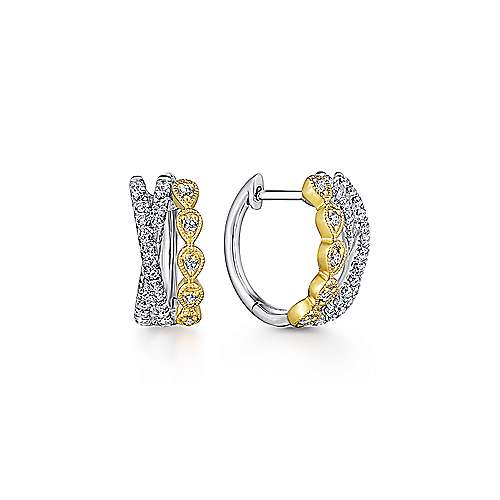 14k Yellow/White Gold Criss Cross 10mm Diamond Huggie Earrings