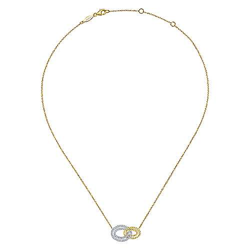 14k Yellow/White Gold Interlocking Oval Diamond Fashion Necklace