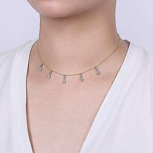 14k Yellow/White Gold Pear Shaped Diamond Choker Necklace