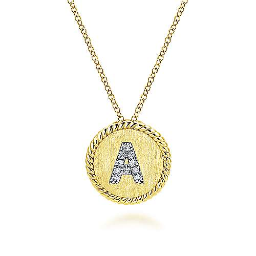 14k Yellow/White Gold Round Uppercase A Diamond Initial Necklace